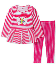 Kids Headquarters Toddler Girls 2-Pc. Eyelet-Trim Striped Tunic & Dot-Print Leggings Set