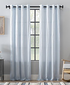 "Archaeo Seersucker Stripe Cotton Blend Grommet Top Curtain, 50"" W x 84"" L"