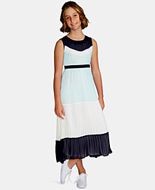 Rare Editions Big Girls Colorblocked Pleated Maxi Dress