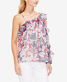 Vince Camuto Printed Asymmetrical Ruffled Top