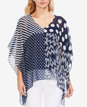 Maze Patchwork-Print Poncho in Ink Blue