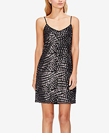 Vince Camuto Silver Fan Sequin Camisole Dress