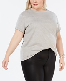 Say What? Trendy Plus Size Studded T-Shirt