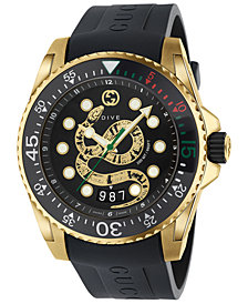 Gucci Men's Swiss Diver Black Rubber Strap Watch 40mm