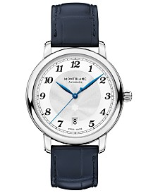 Montblanc Men's Swiss Automatic Star Legacy Blue Alligator Leather Strap Watch 39mm