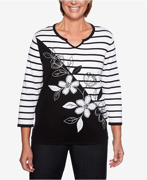 Alfred Dunner Grand Boulevard Embroidered Appliqué Striped Sweater