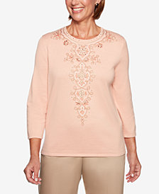 Alfred Dunner Good To Go Medallion-Embroidered Sweater