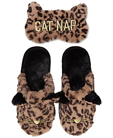 Dearfoams Women's Faux-Fur Scuff Slippers & Eye Mask, Online Only