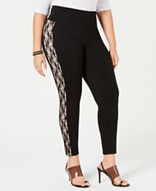 I.N.C. Shaping Plus-Size Lace-Stripe Leggings, Created for Macy's