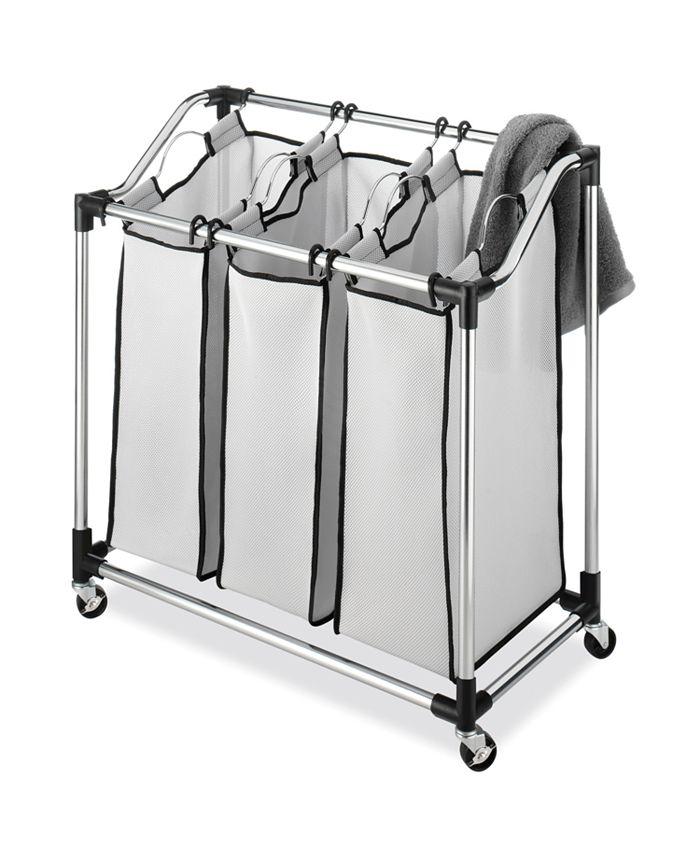 Whitmor - Chrome Laundry Sorter with Foam Mesh Bags