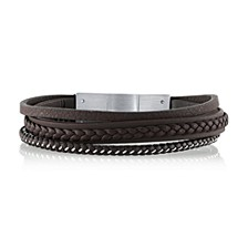 Brown Leather and Stainless Steel Triple Wrap Bracelet, 8.5""