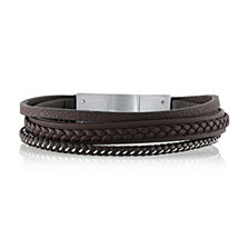 He Rocks Brown Leather and Stainless Steel Triple Wrap Bracelet, 8.5""