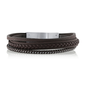 Brown Leather and Stainless Steel Triple Wrap Bracelet