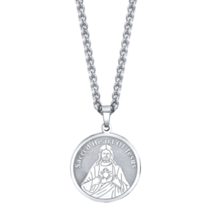 """""""With Jesus in My Heart"""" Coin Pendant Necklace in Stainless Steel"""