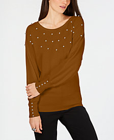JM Collection Petite Studded Sweater, Created for Macy's