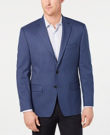 Men's Classic-Fit UltraFlex Stretch Blue Houndstooth Check Sport Coat