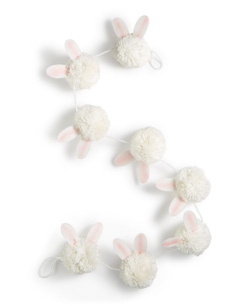 Martha Stewart Collection Spring Bunny Pom Pom Garland, Created for Macy's