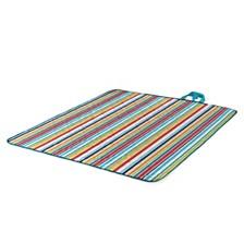 Oniva™ by Picnic Time Vista Aqua Blue Stripes Outdoor Blanket Tote