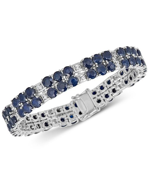 Macy's Sapphire (18 ct. t.w.) & White Topaz (2 ct. t.w.) Tennis Bracelet in Sterling Silver (Also available in Tanzanite)