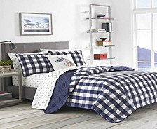 Lake House Plaid Blue King Quilt Set