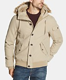 Weatherproof Vintage Mens Faux-Fur Canvas Hooded Jacket