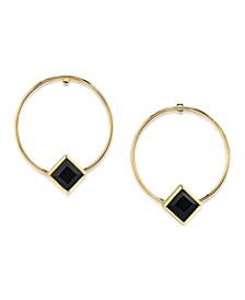 14K Gold Dipped Diamond Shape Crystal Hoop Stainless Steel Post Small Earrings