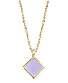 14K Gold Dipped Diamond Shape Enamel Necklace 16""