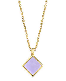 2028 14K Gold Dipped Diamond Shape Enamel Necklace 16""