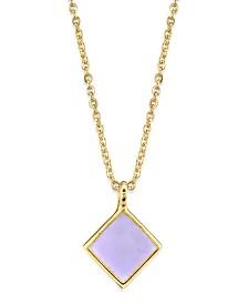"2028 14K Gold Dipped Diamond Shape Enamel Necklace 16"""