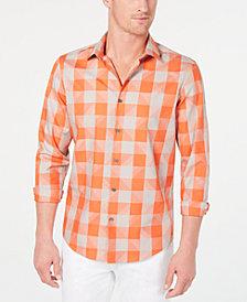 Alfani Men's Large-Check Swoosh Shirt, Created for Macy's