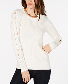 MICHAEL Michael Kors Ribbed Sleeve-Cutout Sweater