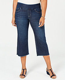 Style & Co Plus Size Fray Leg Pull-On Crop Jeans, Created for Macy's
