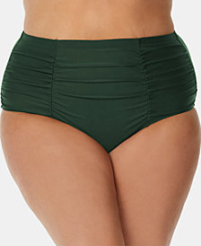 Raisins Curve Trendy Plus Size Juniors' Tummy-Control Bikini Bottoms