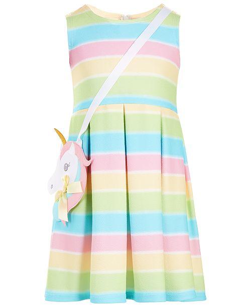78c9103742d Bonnie Jean Little Girls 2-Pc. Rainbow Pleated Dress   Purse Set ...