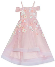 Big Girls Cold-Shoulder Flowers Dress
