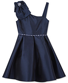 Rare Editions Big Girls Mikado Asymmetrical Bow Dress