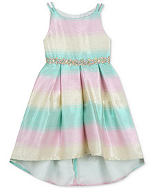 Rare Editions Little Girls Rainbow-Striped Ombré High-Low Dress