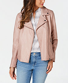 Style & Co Faux-Leather Moto Jacket, Created for Macy's