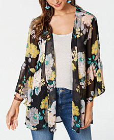 Style & Co Printed Ruffled Open-Front Kimono, Created for Macy's