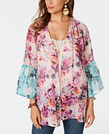 Style & Co Bell-Sleeve Chiffon Kimono Cardigan, Created for Macy's