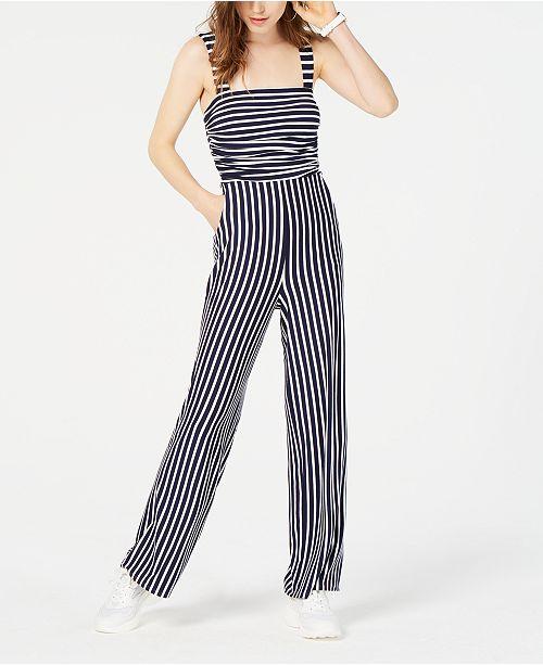 Crystal Doll Juniors' Striped Jumpsuit