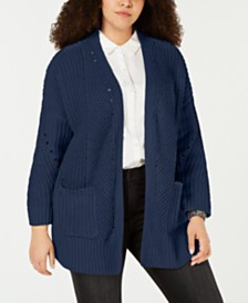 Style & Co Plus Size Chenille Open-Front Cardigan, Created for Macy's