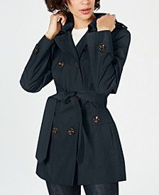 Hooded Double-Breasted Water-Repellent Trench Coat