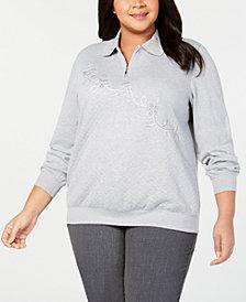 Alfred Dunner Plus Size Embroidered Half-Zip Sweatshirt