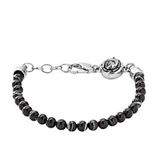 Men's Silver Tone Stainless-Steel Beaded Bracelet