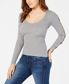 GUESS Holly Ribbed Lace-Up Sweater