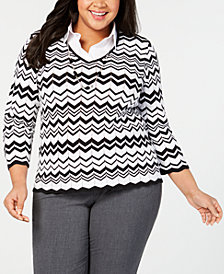 Alfred Dunner Plus Size Grand Boulevard Layered-Look Zigzag-Print Sweater