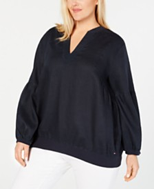 Tommy Hilfiger Plus Size Linen Peasant Top, Created for Macy's