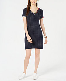 Tommy Hilfiger Cotton V-Neck Dot Dress