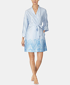 Lauren Ralph Lauren Border-Print Satin Wrap Robe
